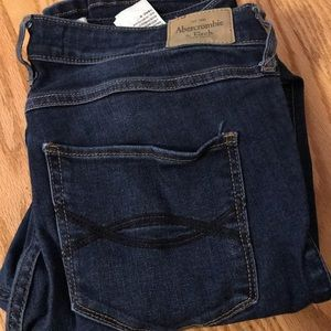 Abercrombie lightly distressed dark wash jeans